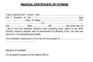 Medical Fitness Certificate PDF Format 2021 Download