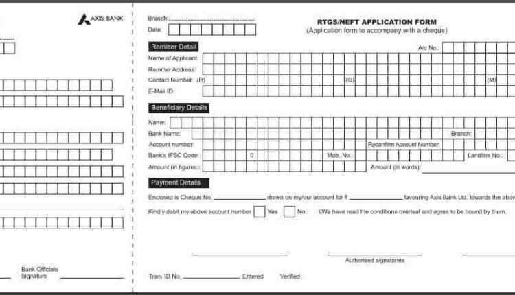 axis bank rtgs form PDF