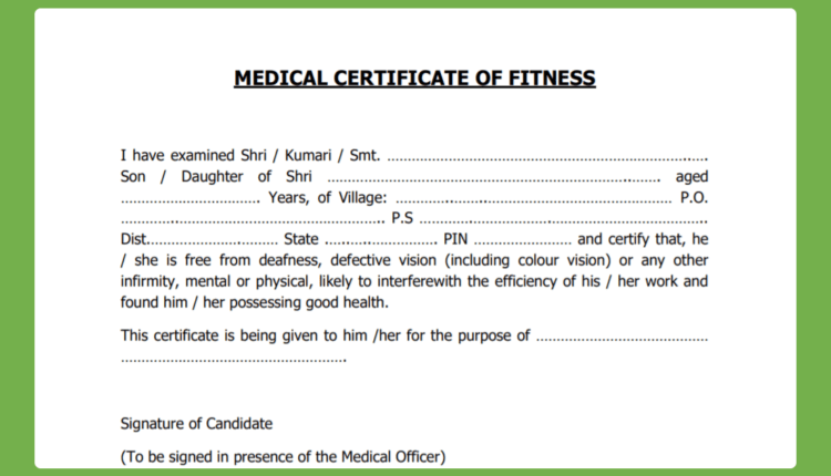 Physical Fitness Certificate PDF Free Download