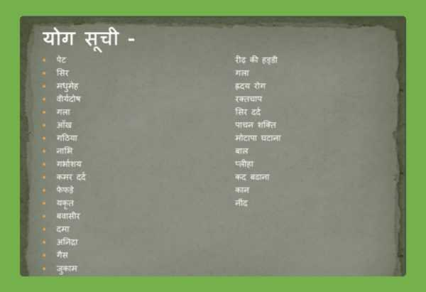 Yoga Asanas With Pictures and Names PDF in Hindi