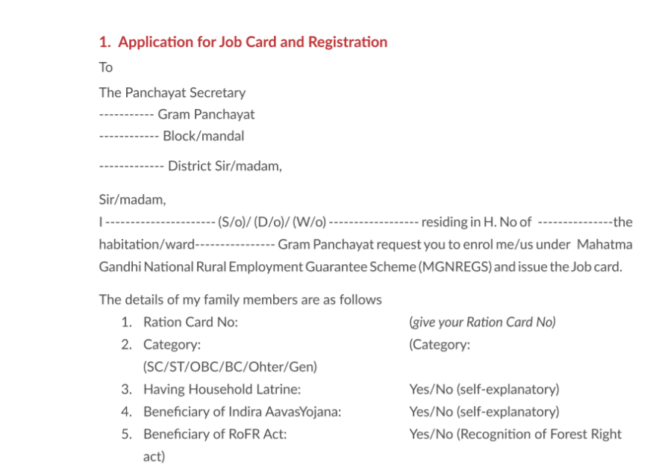 NREGA Job Card Form Application PDF