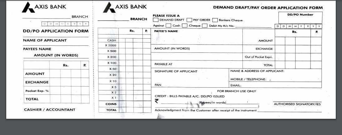 Axis Bank Demand Draft form Online Download PDF
