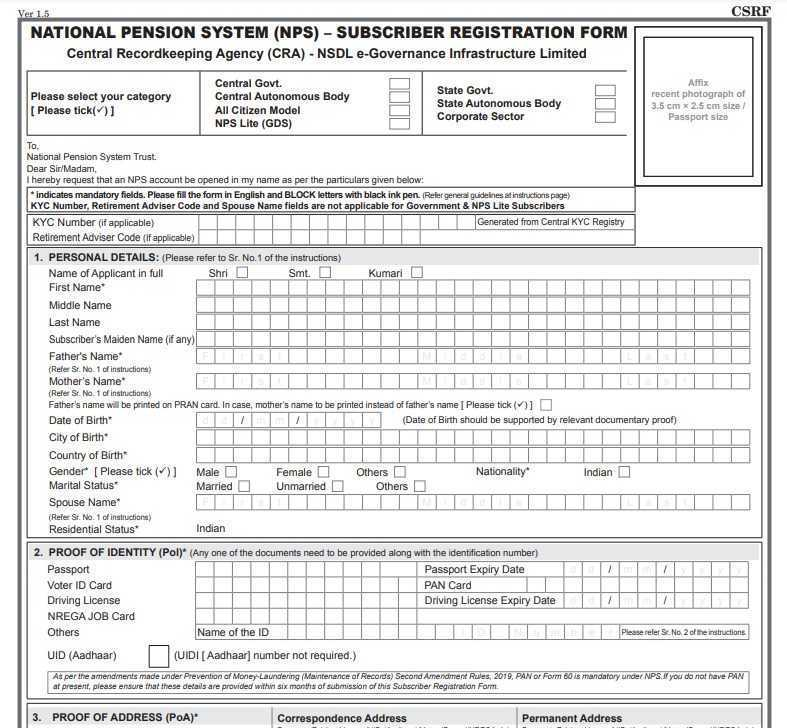 NPS Form PDF National Pension System Forms
