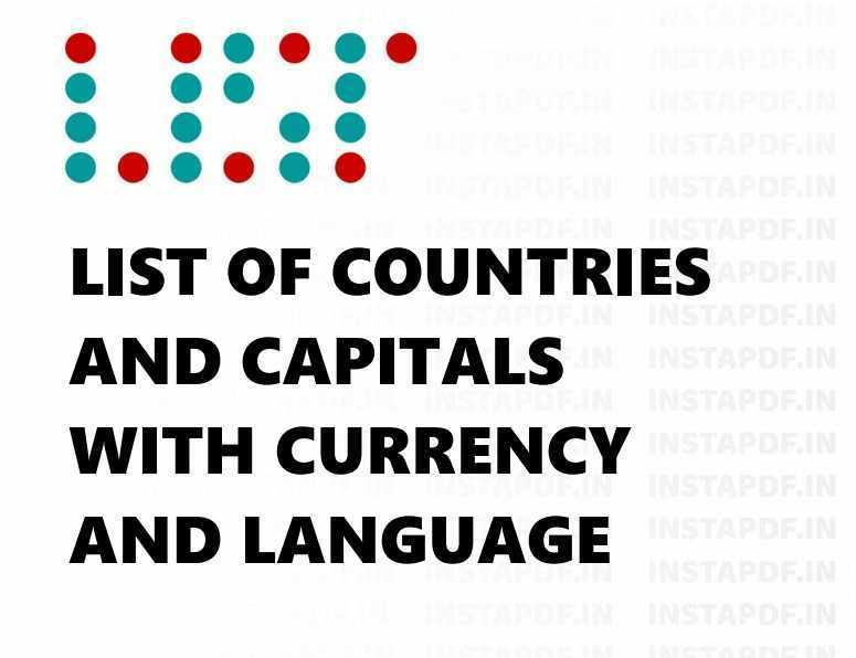 Countries and Capitals with Language List 2021 PDF