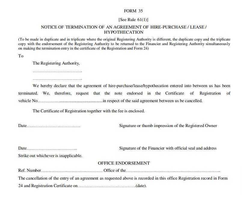 Form 35-Termination Agreement of Hire Purchase/Lease PDF