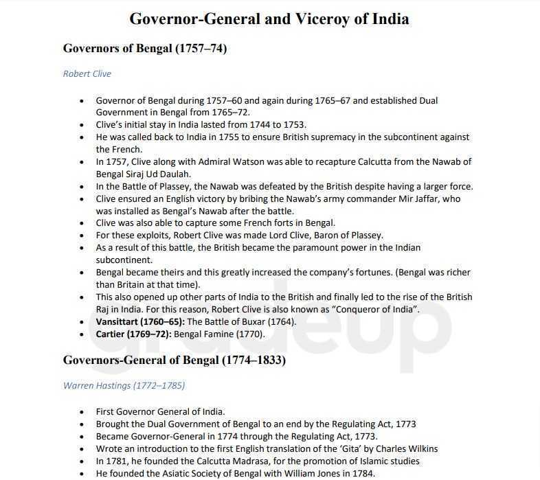Governor General of India List 2021 PDF