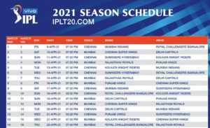 IPL 2021 Schedule Time Table List PDF Download