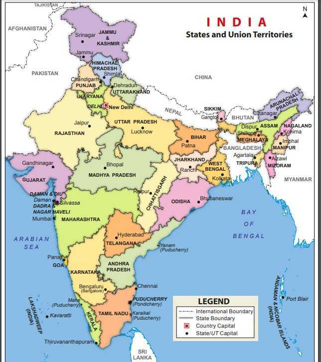 India Map PDF with States and Capital PDF