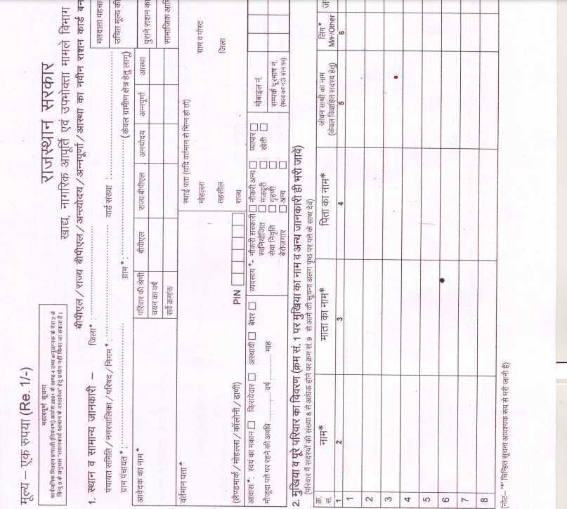 New Ration Card Form Rajasthan PDF