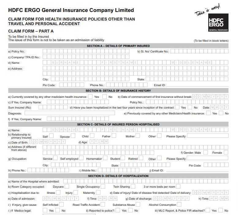 [PDF] HDFC ERGO Health Insurance Claim Form PDF Download Free